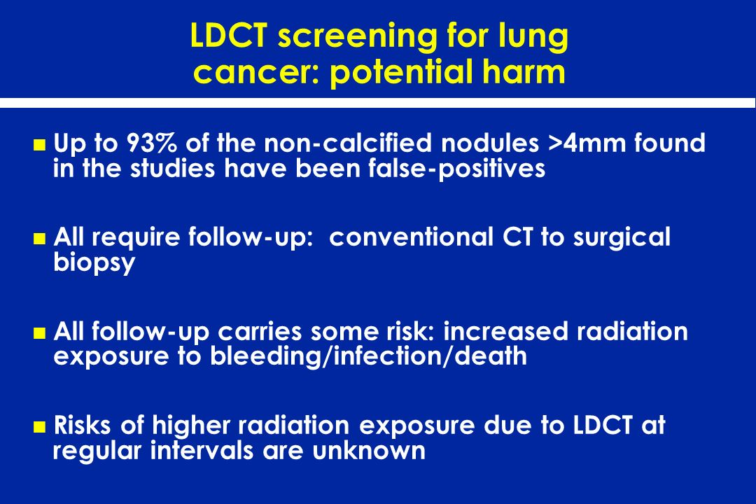 LDCT screening for lung cancer: potential harm