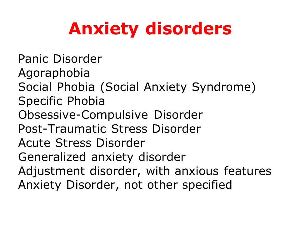 Anxiety disorders Panic Disorder Agoraphobia