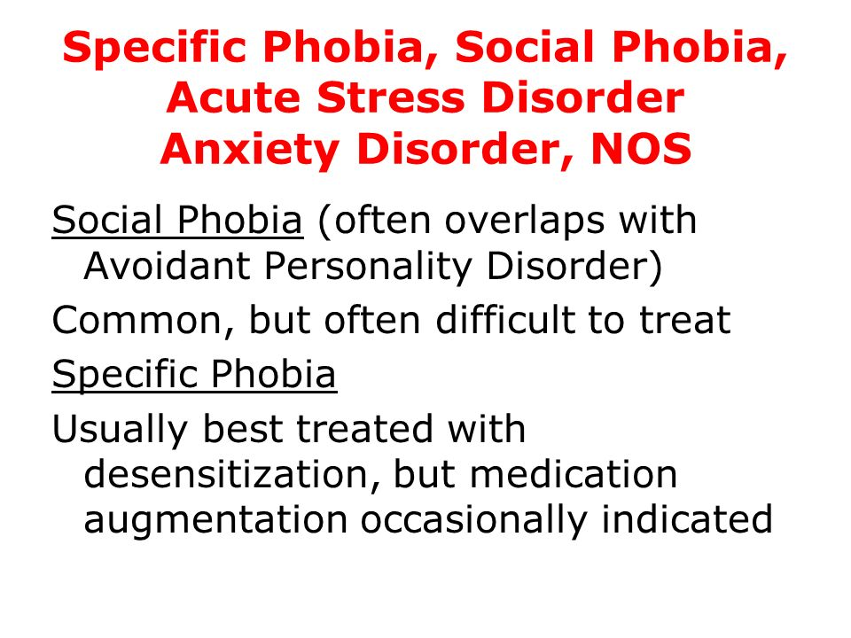 Specific Phobia, Social Phobia, Acute Stress Disorder Anxiety Disorder, NOS