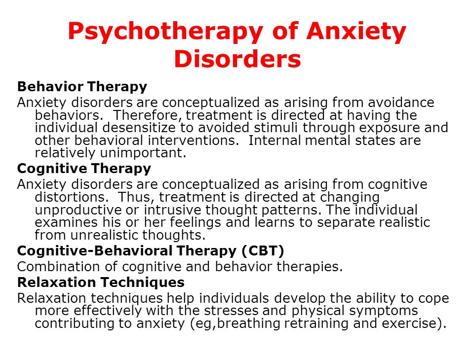 Psychotherapy of Anxiety Disorders