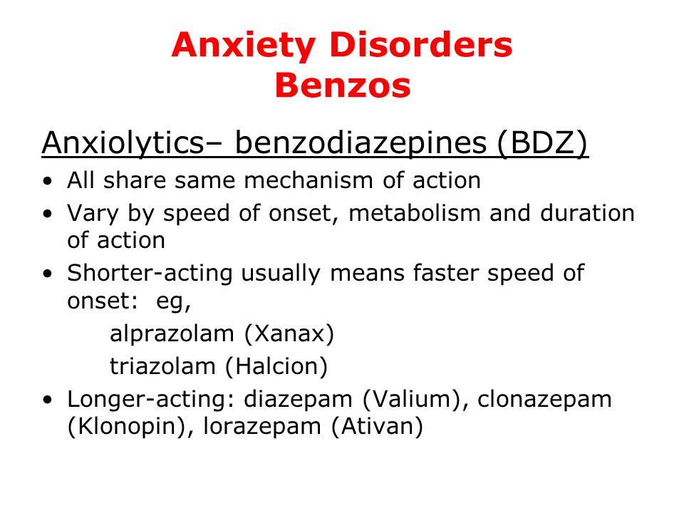 Anxiety Disorders Benzos