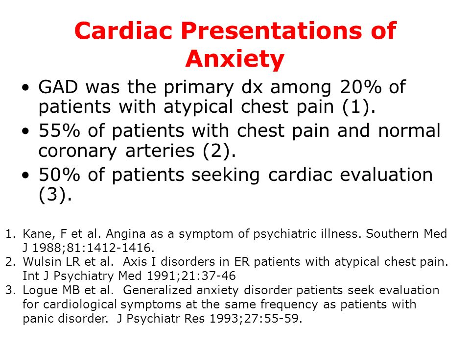 Cardiac Presentations of Anxiety
