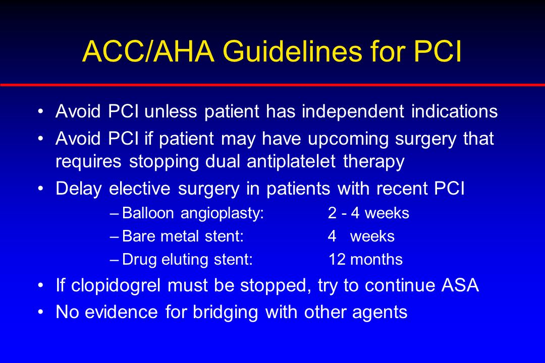 ACC/AHA Guidelines for PCI