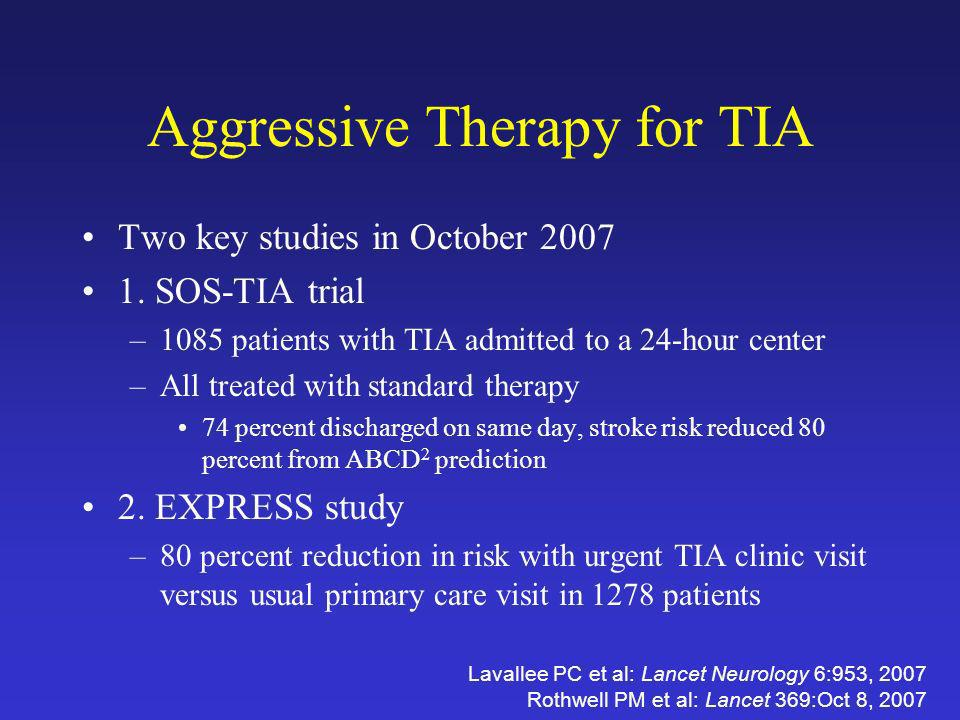 Aggressive Therapy for TIA