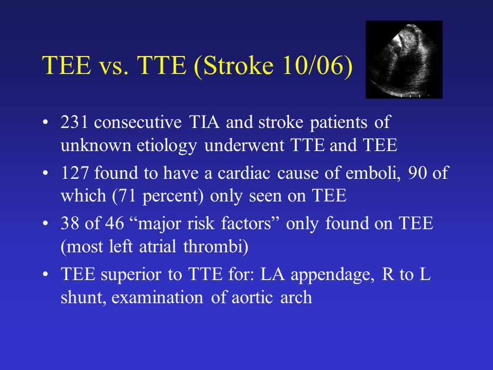TEE vs. TTE (Stroke 10/06) 231 consecutive TIA and stroke patients of unknown etiology underwent TTE and TEE.