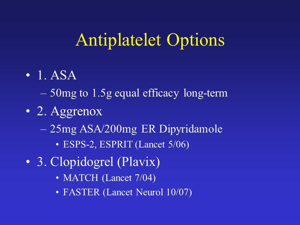 Antiplatelet Options 1. ASA 2. Aggrenox 3. Clopidogrel (Plavix)