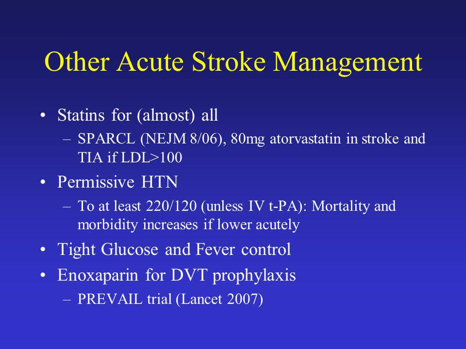 Other Acute Stroke Management