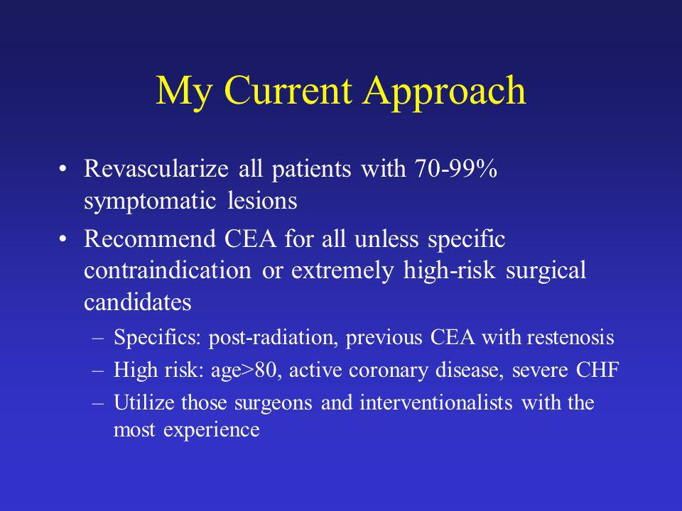 My Current Approach Revascularize all patients with 70-99% symptomatic lesions.