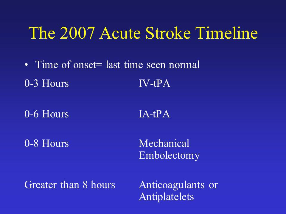 The 2007 Acute Stroke Timeline