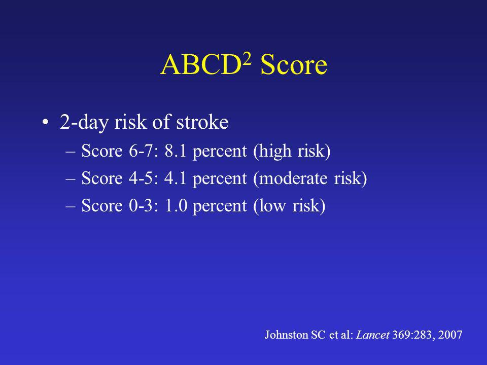 ABCD2 Score 2-day risk of stroke Score 6-7: 8.1 percent (high risk)