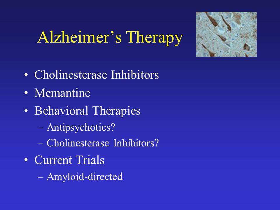 Alzheimer's Therapy Cholinesterase Inhibitors Memantine