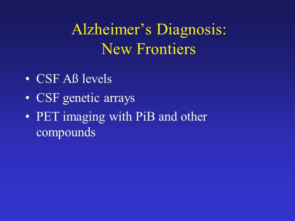 Alzheimer's Diagnosis: New Frontiers