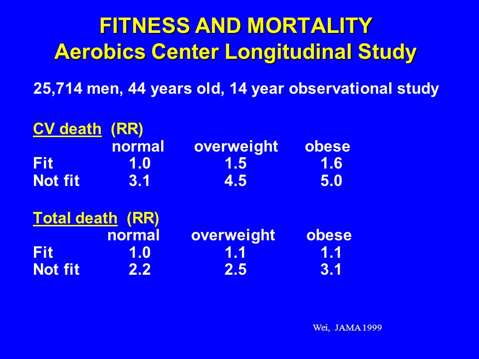 FITNESS AND MORTALITY Aerobics Center Longitudinal Study