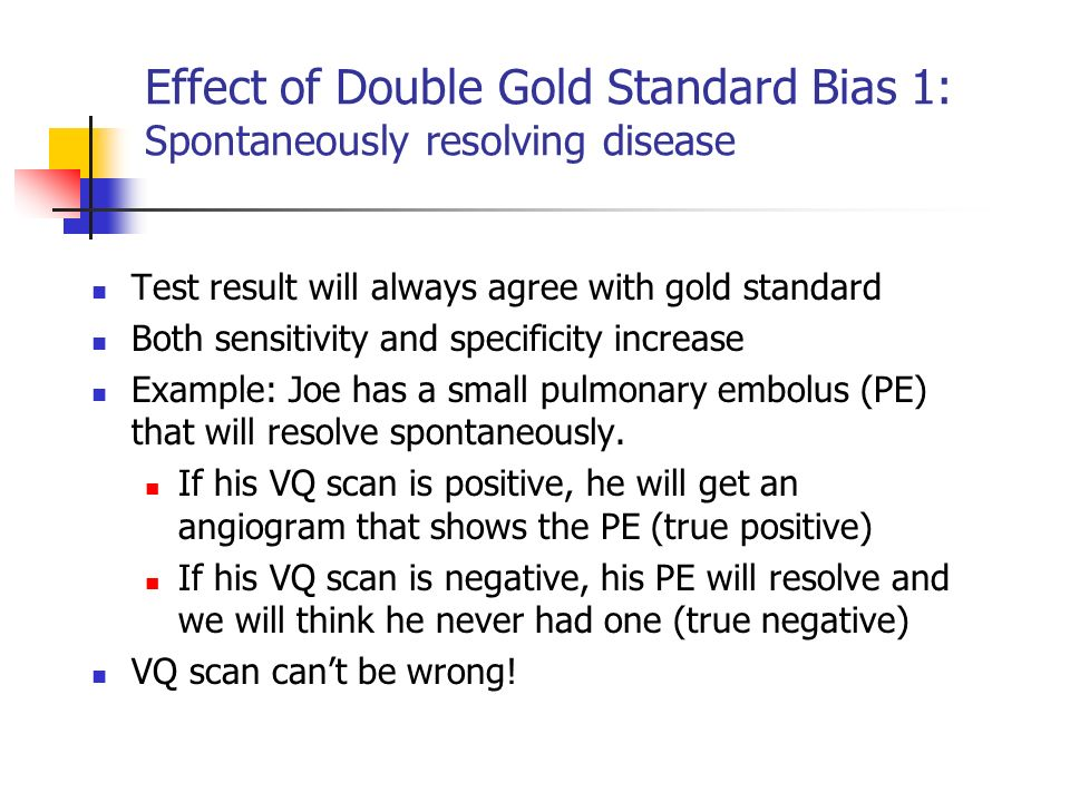 Effect of Double Gold Standard Bias 1: Spontaneously resolving disease