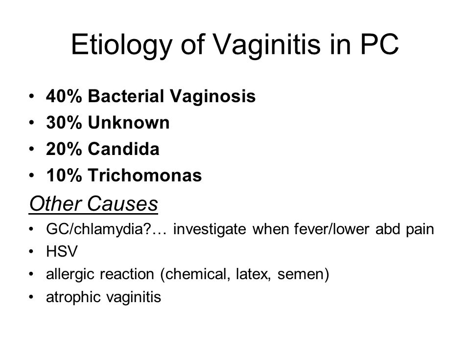 Etiology of Vaginitis in PC