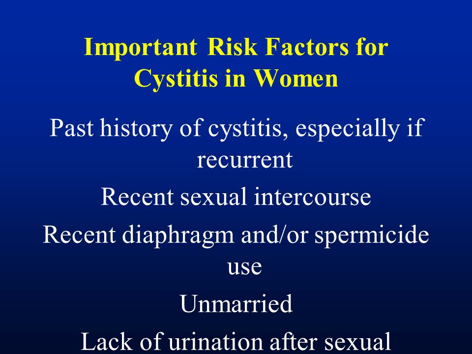 Important Risk Factors for Cystitis in Women