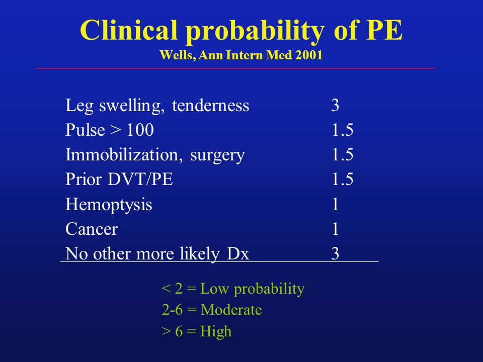 Clinical probability of PE Wells, Ann Intern Med 2001