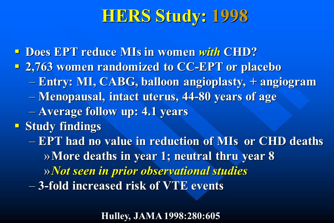 HERS Study: 1998 Does EPT reduce MIs in women with CHD