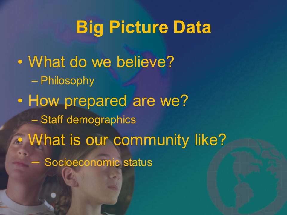 Big Picture Data What do we believe How prepared are we