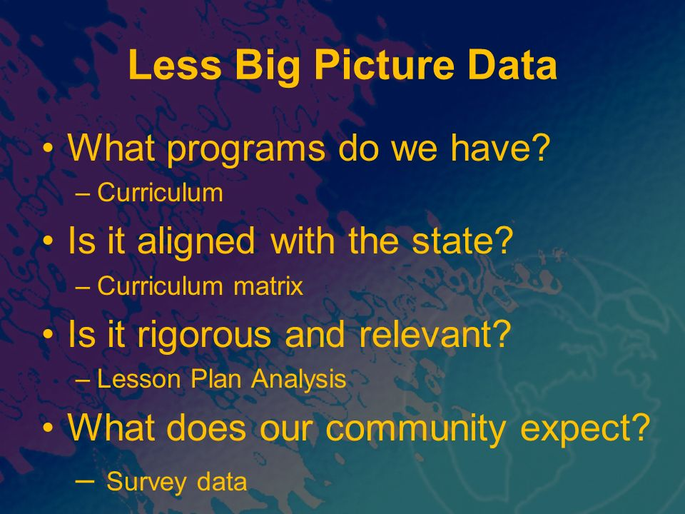 Less Big Picture Data What programs do we have