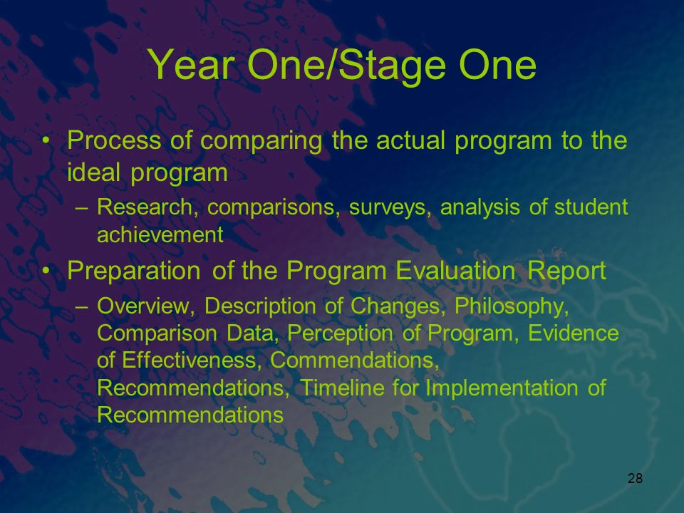 Year One/Stage One Process of comparing the actual program to the ideal program. Research, comparisons, surveys, analysis of student achievement.