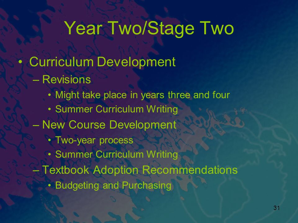 Year Two/Stage Two Curriculum Development Revisions