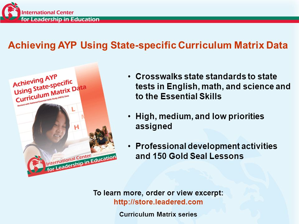 Achieving AYP Using State-specific Curriculum Matrix Data