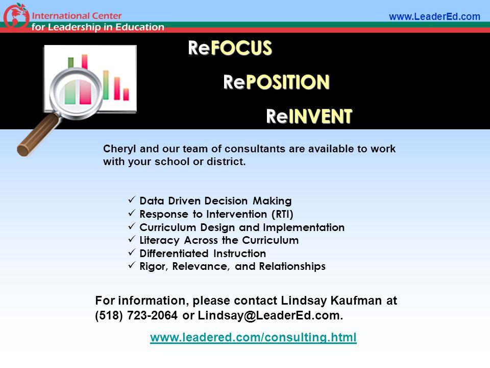 ReFOCUS RePOSITION ReINVENT