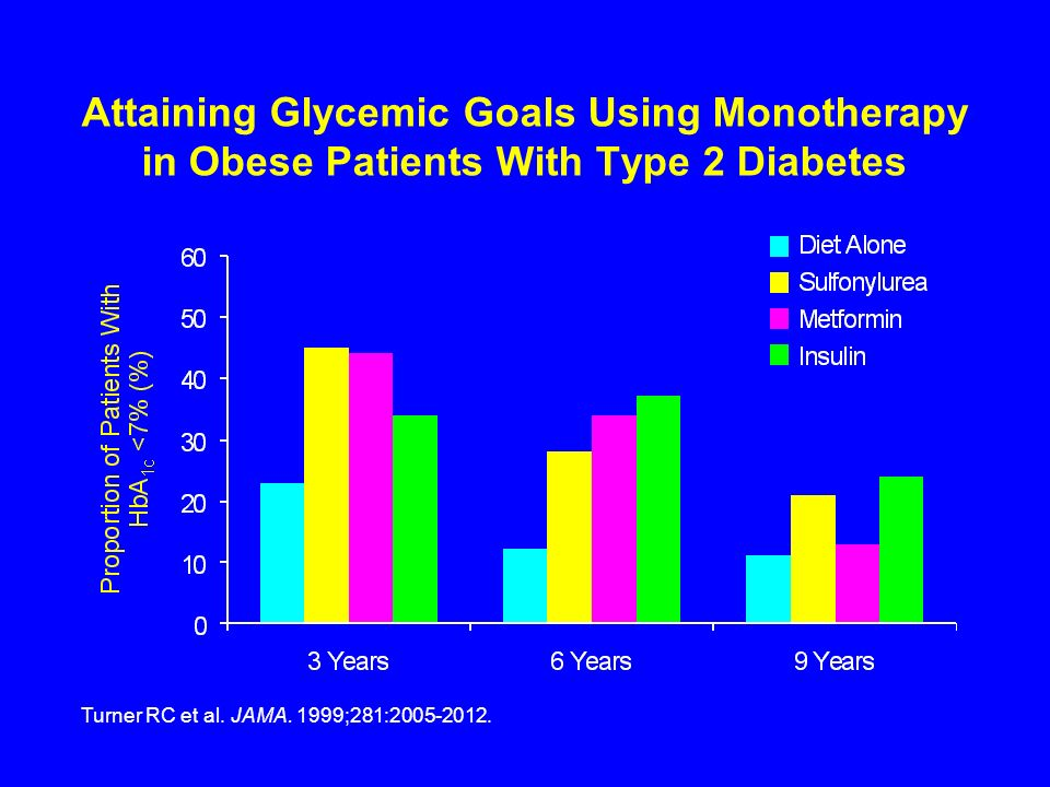 Attaining Glycemic Goals Using Monotherapy in Obese Patients With Type 2 Diabetes