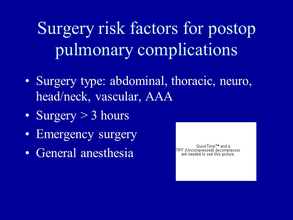 Surgery risk factors for postop pulmonary complications