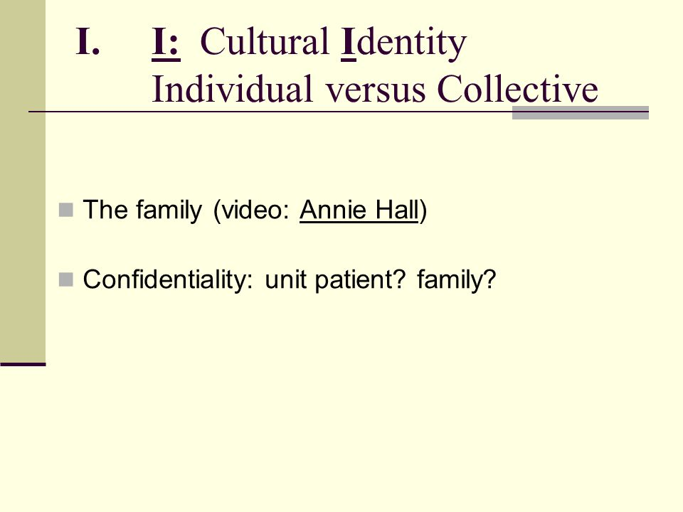 I: Cultural Identity Individual versus Collective