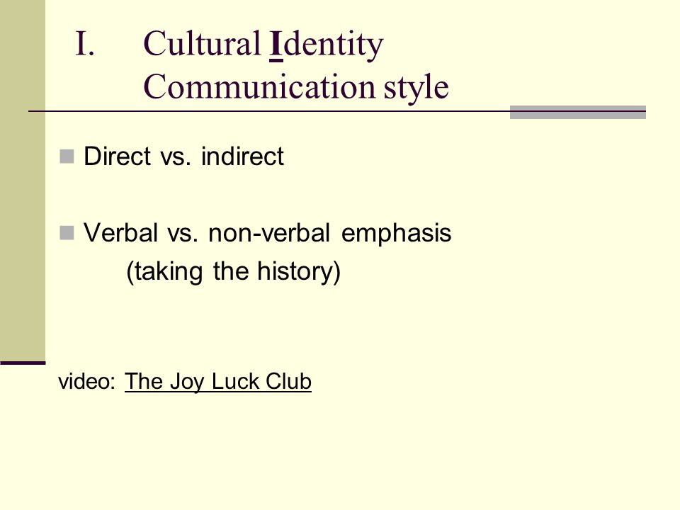 Cultural Identity Communication style