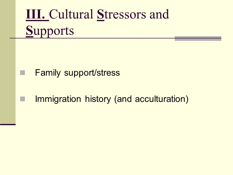 III. Cultural Stressors and Supports
