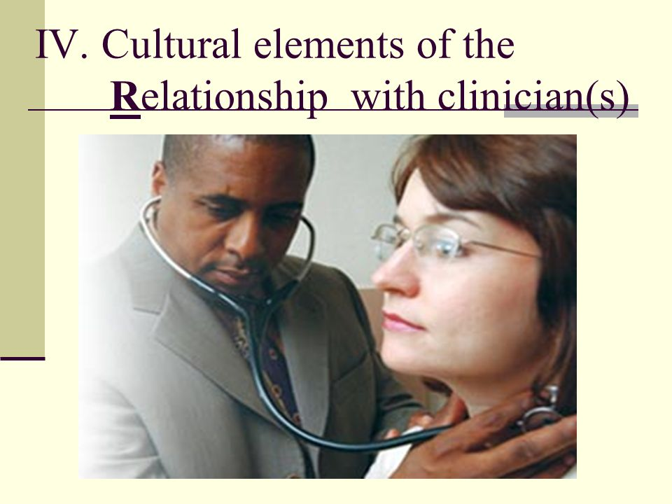 IV. Cultural elements of the Relationship with clinician(s)