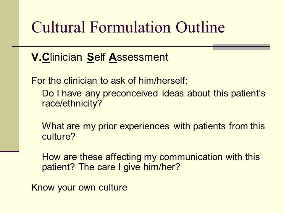 Cultural Formulation Outline