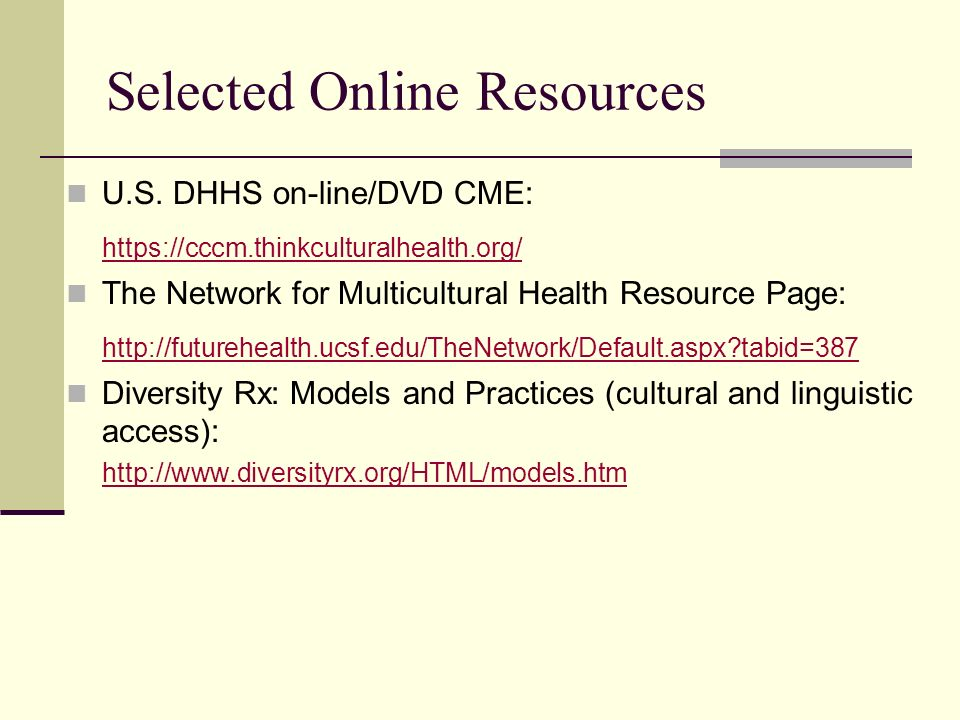Selected Online Resources