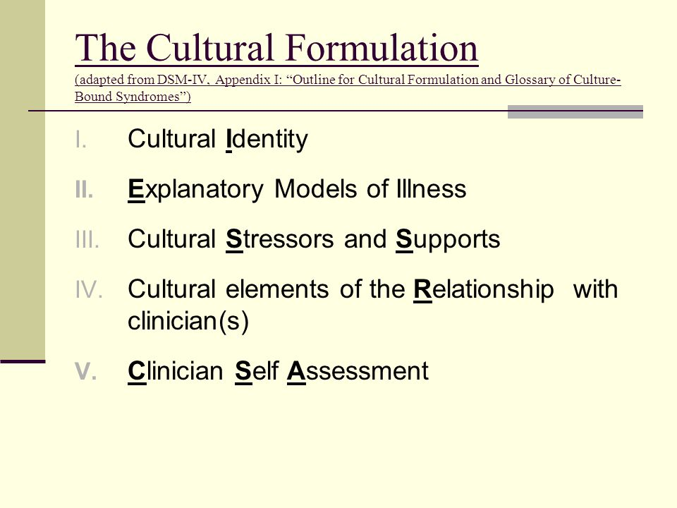 The Cultural Formulation (adapted from DSM-IV, Appendix I: Outline for Cultural Formulation and Glossary of Culture-Bound Syndromes )
