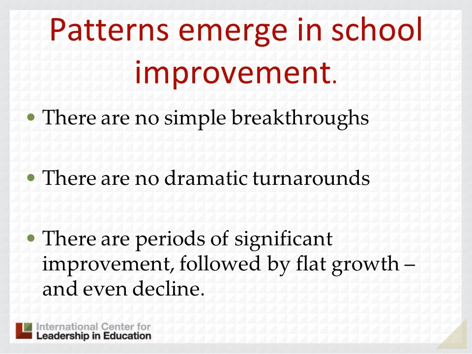 Patterns emerge in school improvement.