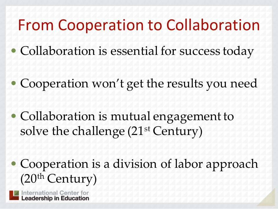 From Cooperation to Collaboration
