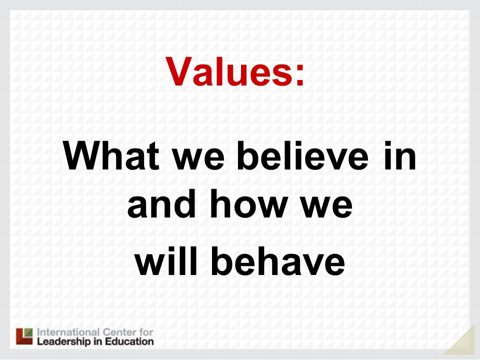 What we believe in and how we will behave