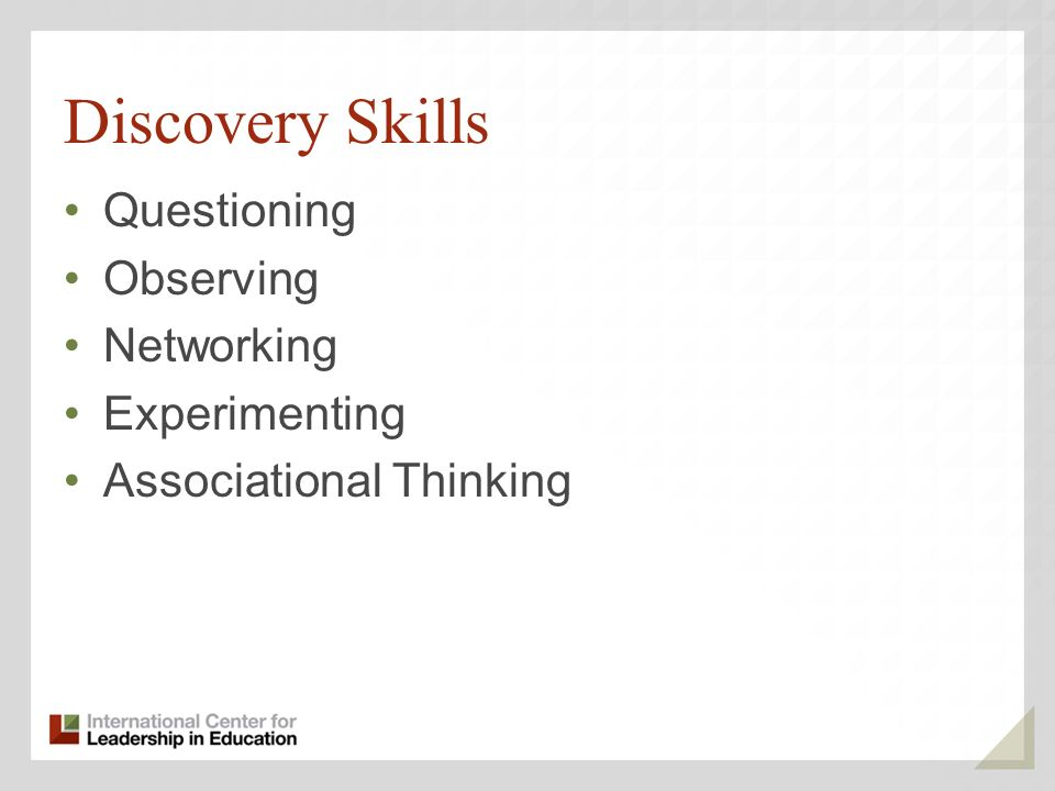 Discovery Skills Questioning Observing Networking Experimenting