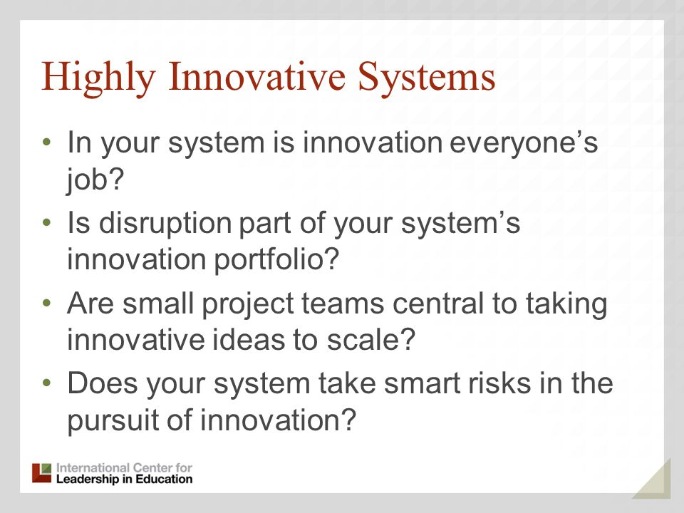 Highly Innovative Systems