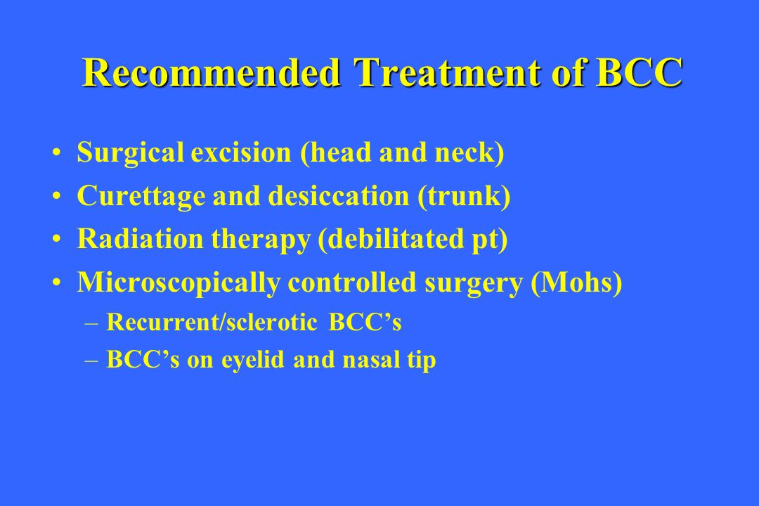 Recommended Treatment of BCC