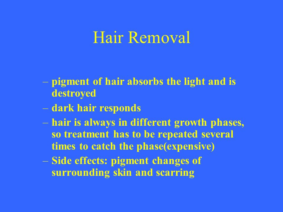 Hair Removal pigment of hair absorbs the light and is destroyed