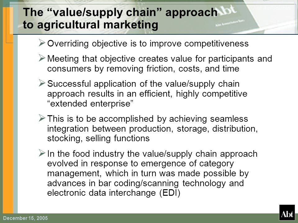The value/supply chain approach to agricultural marketing