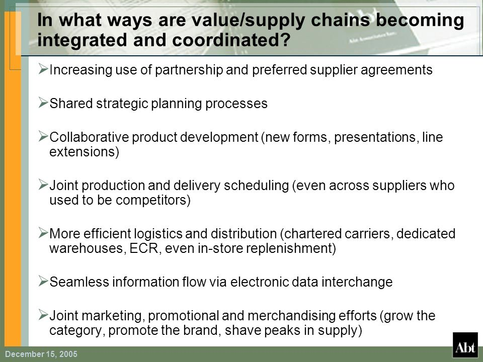In what ways are value/supply chains becoming integrated and coordinated