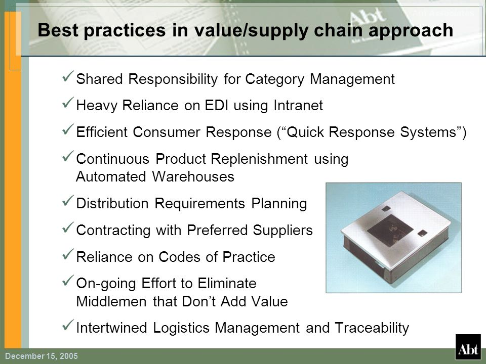 Best practices in value/supply chain approach