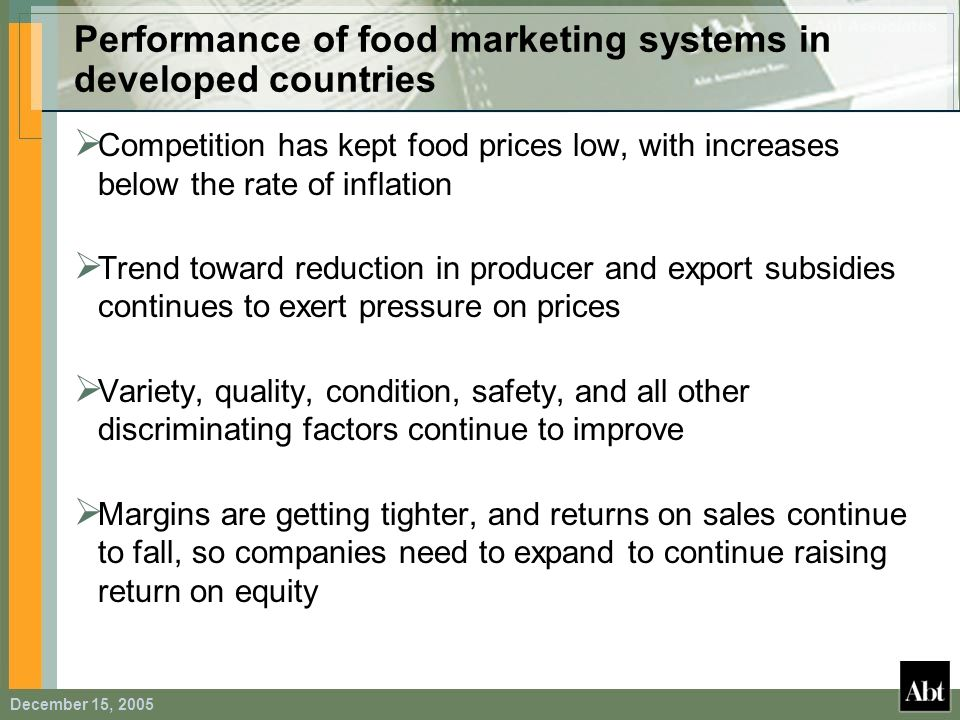 Performance of food marketing systems in developed countries