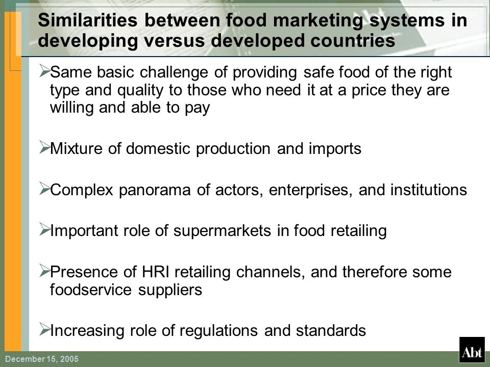 Similarities between food marketing systems in developing versus developed countries