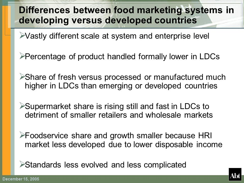 Differences between food marketing systems in developing versus developed countries